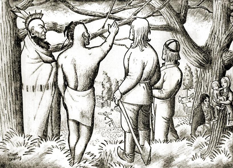 Onko ihme, jos intiaanit ja suomalaissiirtolaiset ovat tulleet hyvin juttuun. Kummatkin kun ymmärtävät löylyn päälle ja säilyttävät pokerinaaman myös kovissa paikoissa. Pilvenpiirtäjiä rakennettaessakin keikkuivat mahdottoman korkealla pilvien tuntumassa niin preerian kuin Härmänkin pojat. Ugh. - Kaukaisempaan historiaan. Delawareen liittyvä piirros New Yorkin Uutisista 21.6.1938. Kyseiseen kirjaan kuulumaton kuva Suomen Siirtolaisuusinstituutti.